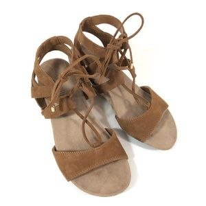 Vionic Noble Tansy Brown Camel Lace Up Wedge